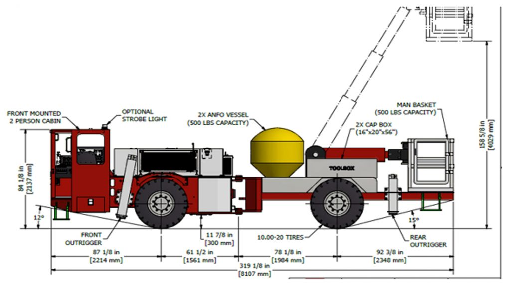 Underground Anfo Loader Narrow Vein