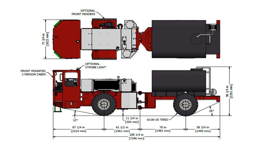 Underground Water Truck Narrow Vein