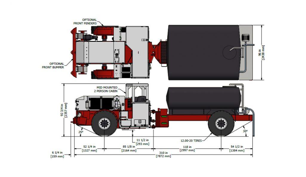 Underground Water Truck Mines Dimensions